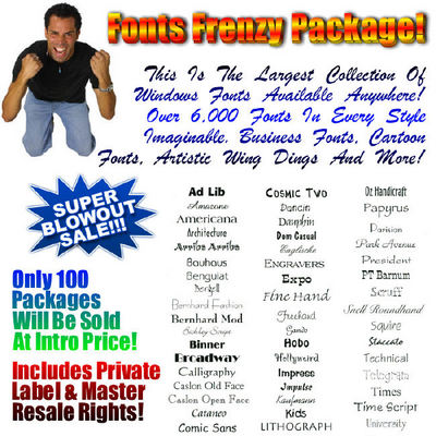 Product picture Fonts Frenzy Package MRR