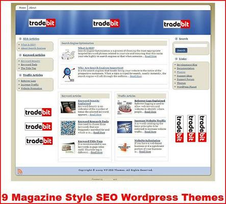 Product picture 9 Magazine Style SEO Wordpress Themes MRR
