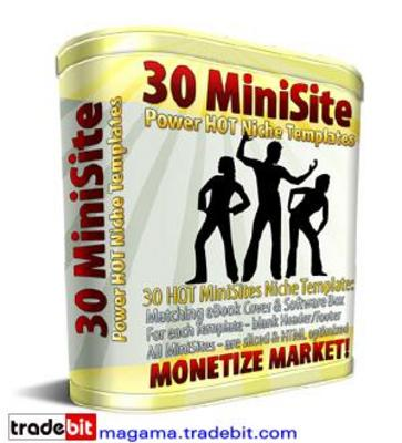 Product picture 30 Mini Site Templates with Full MASTER Resale Rights!